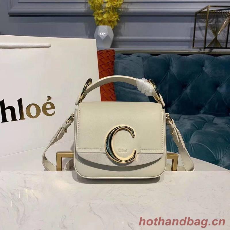 Chloe Original Calfskin Leather Top Handle Small Bag 3S030 White