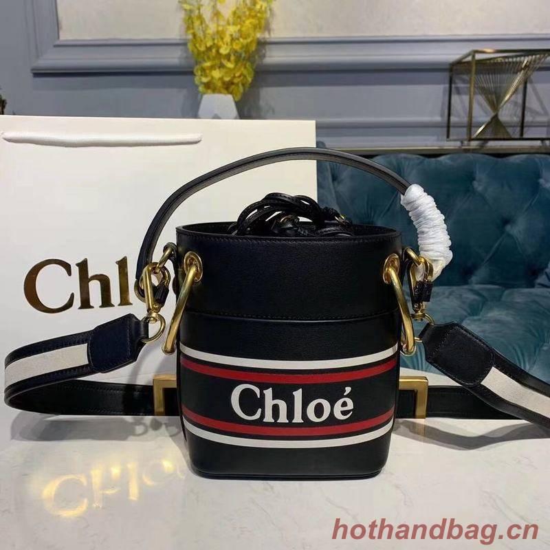 Chloe Roy Mini Smooth Leather Bucket Bag 3S508 Black