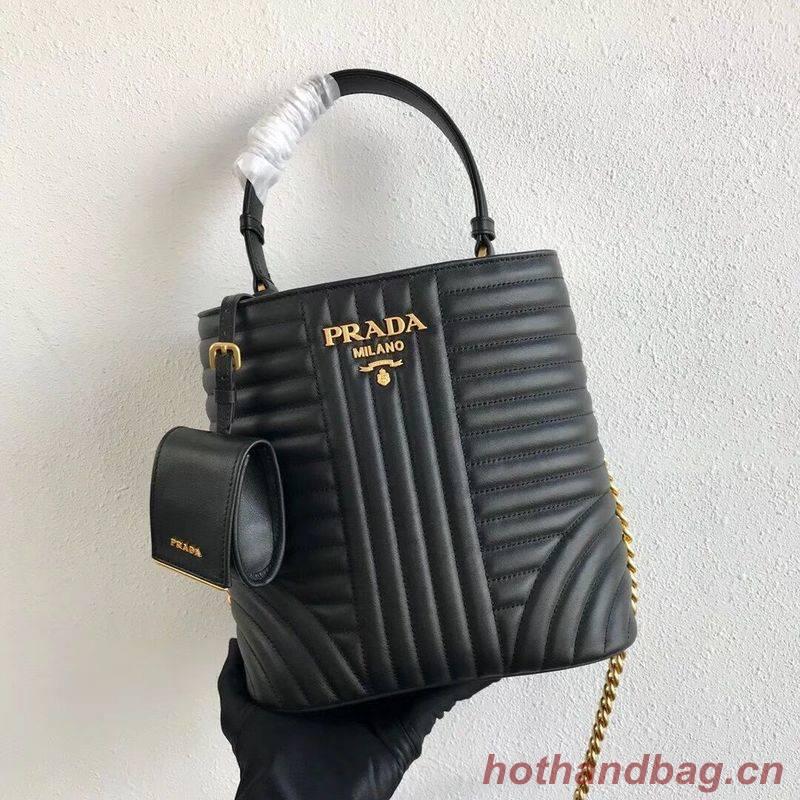 Prada Double Saffiano Original Calfskin Leather Bag 1BA212 Black