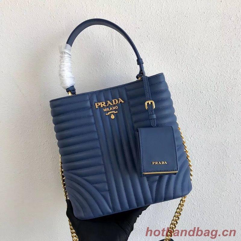 Prada Double Saffiano Original Calfskin Leather Bag 1BA212 Blue