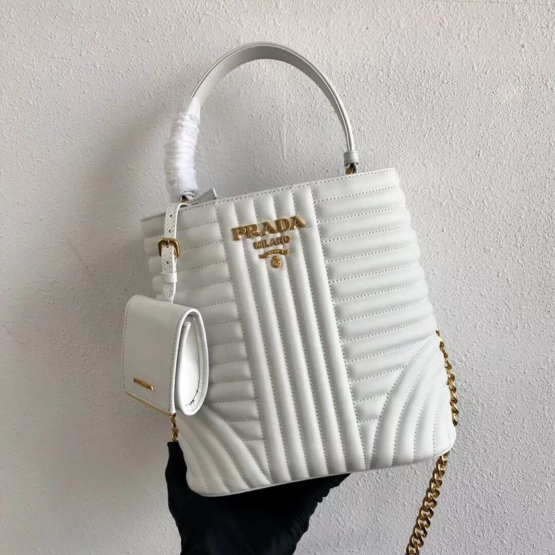 Prada Double Saffiano Original Calfskin Leather Bag 1BA212 White