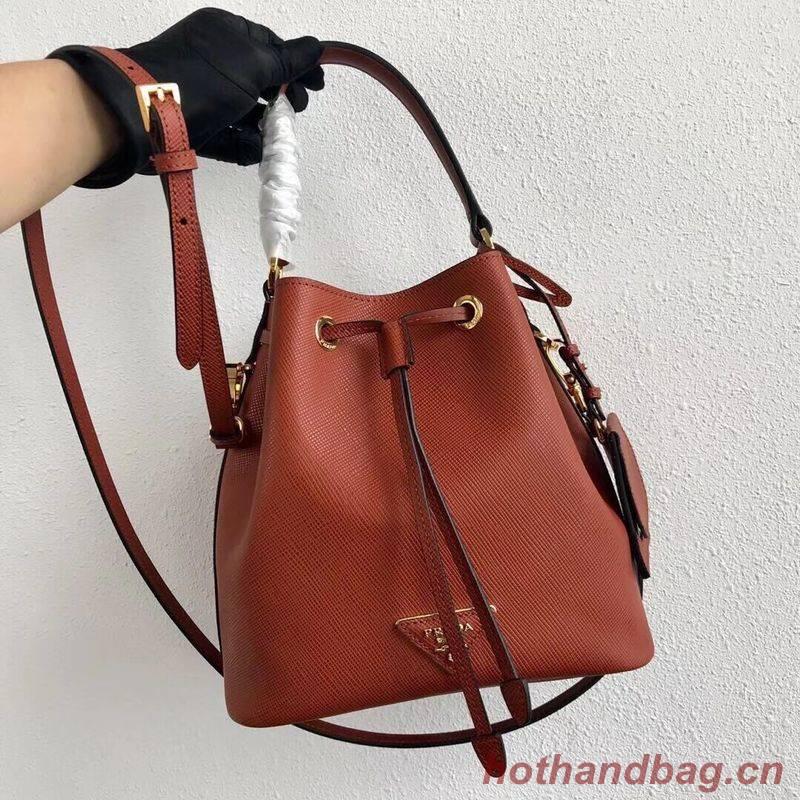 Prada Galleria Saffiano Leather Bag 1BE032 Dark Orange