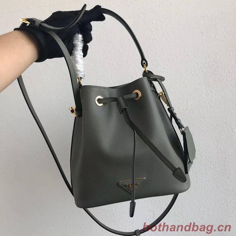 Prada Galleria Saffiano Leather Bag 1BE032 Gray