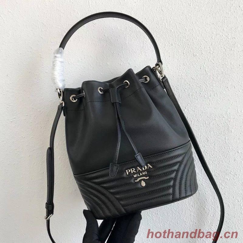 Prada Original Calfskin Leather Bucket Bag 1BH038 Black