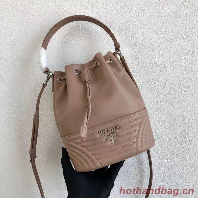 Prada Original Calfskin Leather Bucket Bag 1BH038 Nude