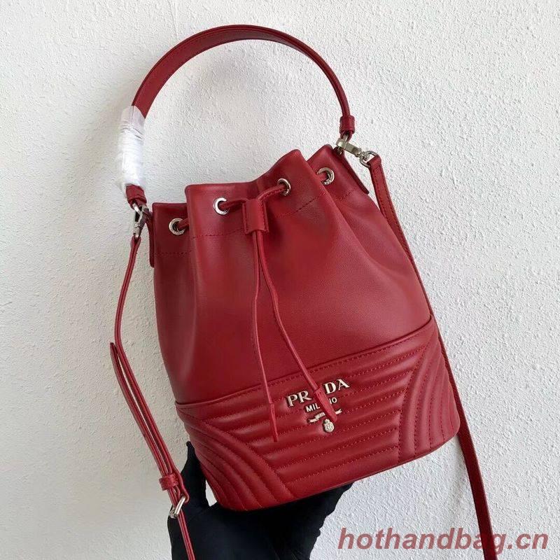Prada Original Calfskin Leather Bucket Bag 1BH038 Red