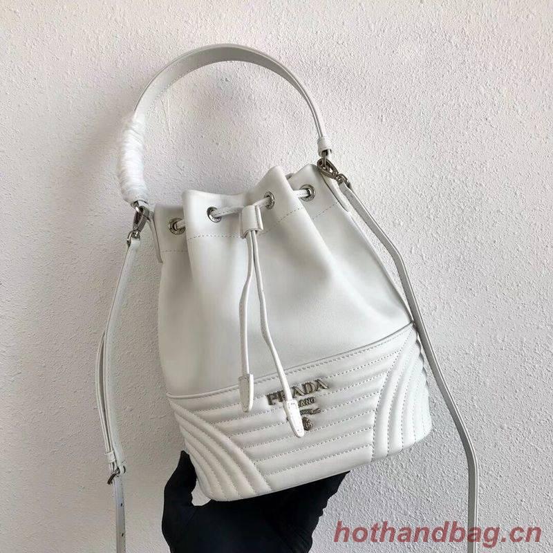 Prada Original Calfskin Leather Bucket Bag 1BH038 White