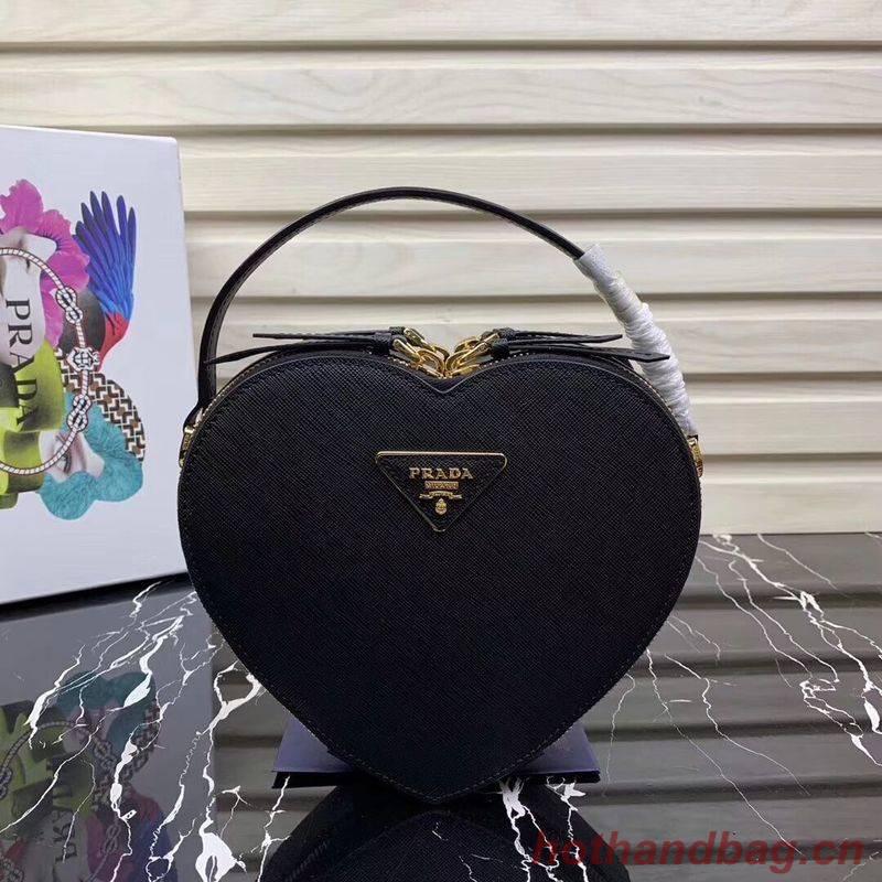Prada Saffiano Original Leather Tote Heart Bag 1BH144 Black