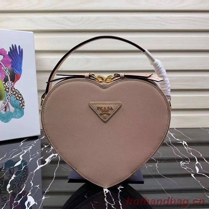 Prada Saffiano Original Leather Tote Heart Bag 1BH144 Pink