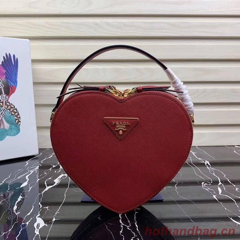 Prada Saffiano Original Leather Tote Heart Bag 1BH144 Red