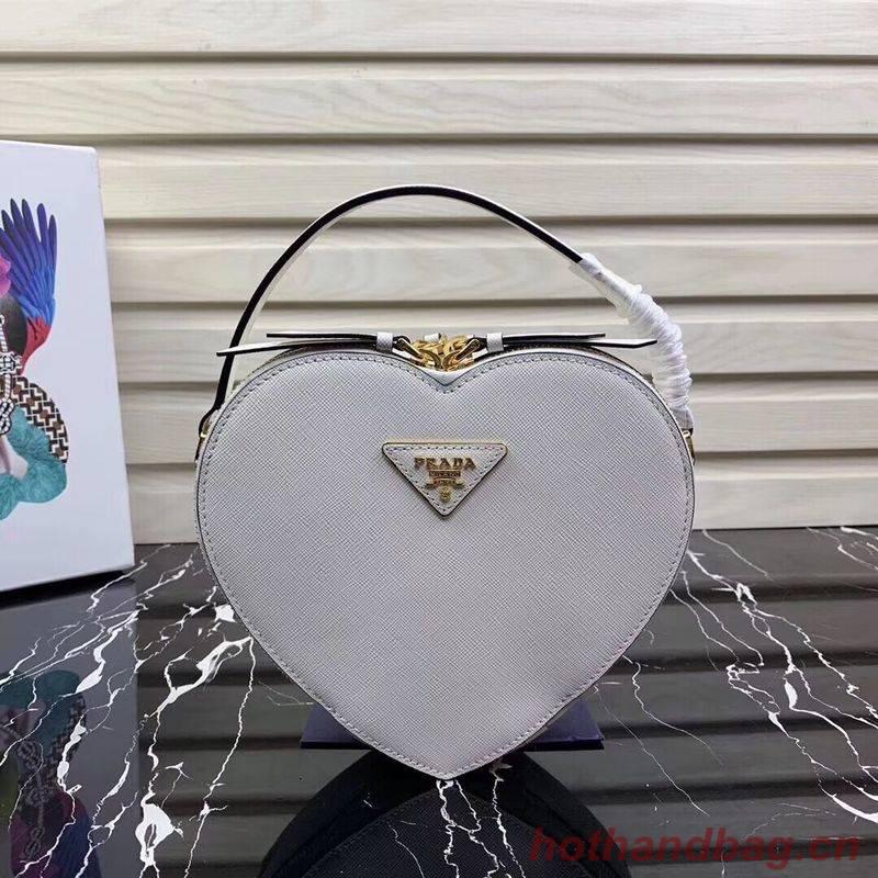 Prada Saffiano Original Leather Tote Heart Bag 1BH144 White