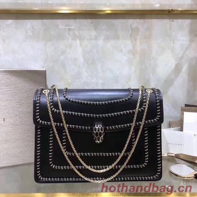 BVLGARI Medium Shoulder Bag Calfskin Leather BG22890 black