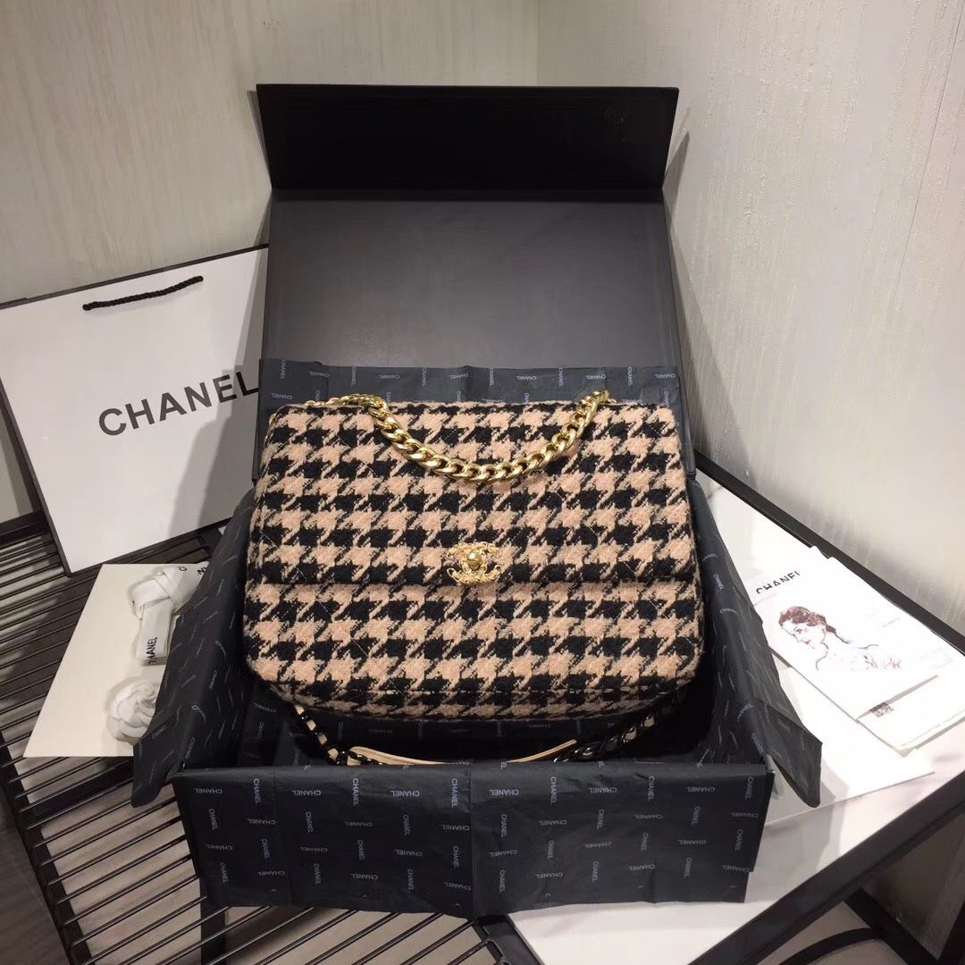 Chanel Original Flap Bags Houndstooth A3269 Black&Beige