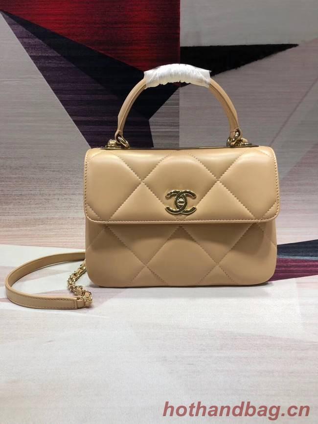 Chanel CC original lambskin top handle flap bag A92236 apricot&Gold-Tone Metal