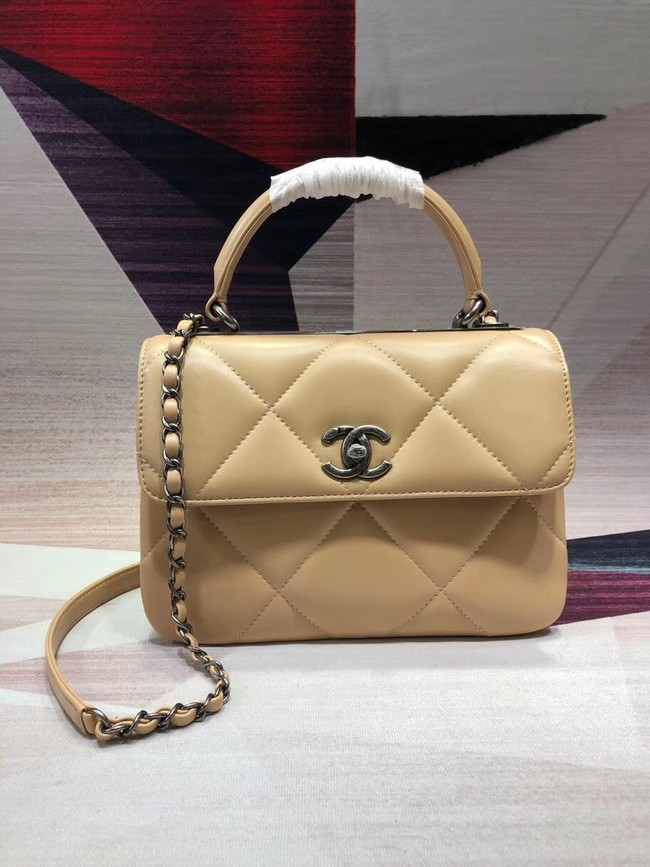 Chanel CC original lambskin top handle flap bag A92236 apricot&silver-Tone Metal