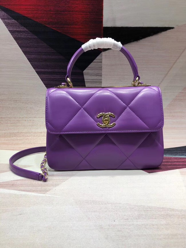 Chanel CC original lambskin top handle flap bag A92236 purple&Gold-Tone Metal