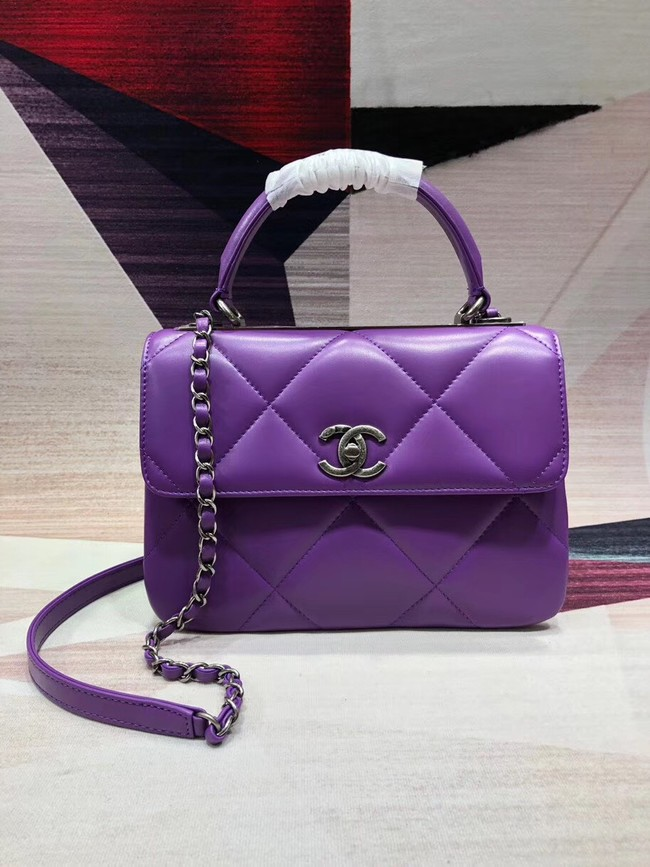 Chanel CC original lambskin top handle flap bag A92236 purple&silver-Tone Metal