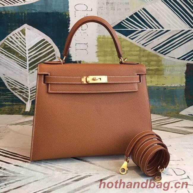 Hermes original Kelly Epsom Leather KL32 brown