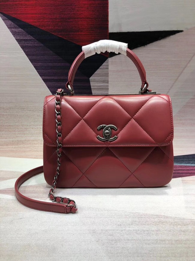 Chanel CC original lambskin top handle flap bag A92236 red&silver-Tone Metal
