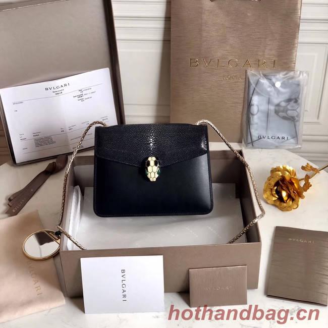 BVLGARI Serpenti Forever Shoulder Bag Pearl fish skin&Calfskin Leather 289012 black