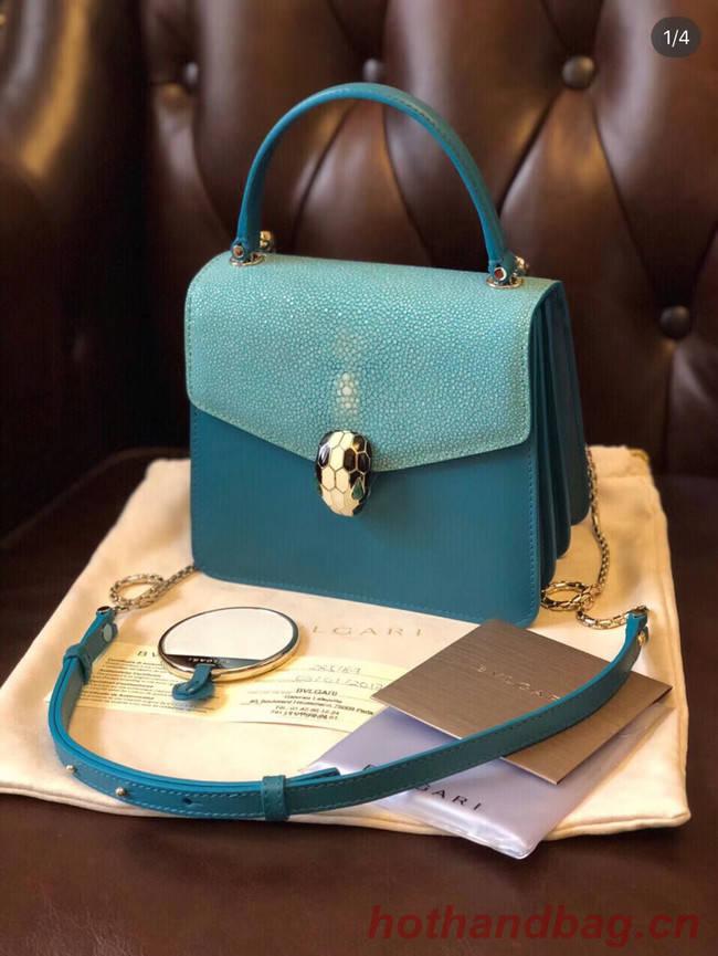 Bvlgari Serpenti Forever Pearl fish skin&Calfskin Leather small crossbody bag 288687 blue