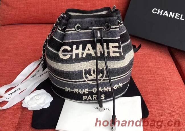 CHANEL Tweed Calfskin drawstring bag & Gold-Tone Metal AS0455 grey.white.Navy