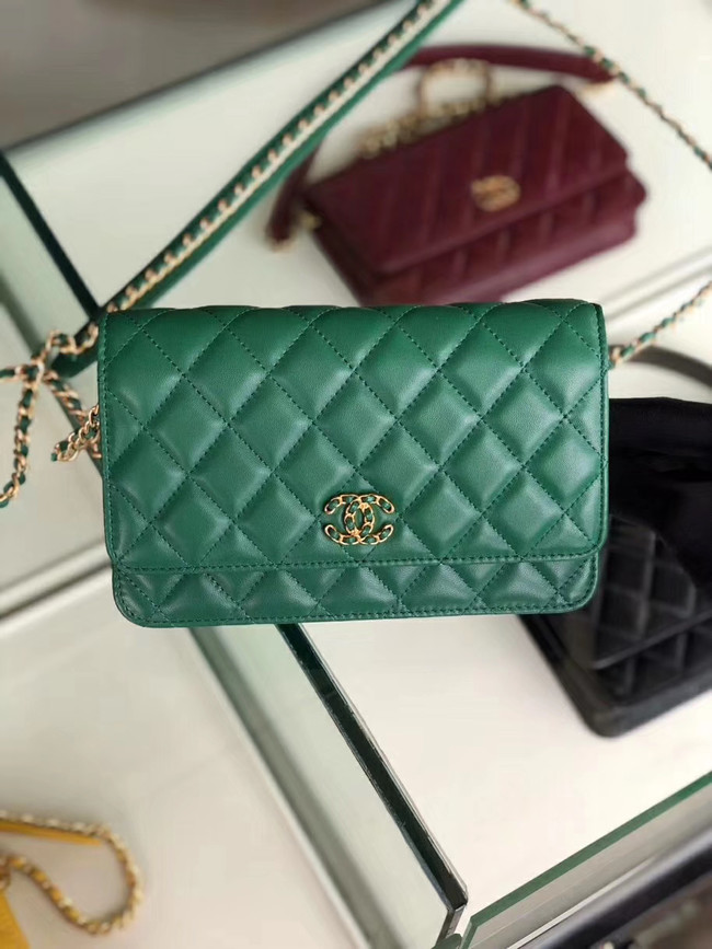 Chanel Original Leather Chain Wallet AP0724 green