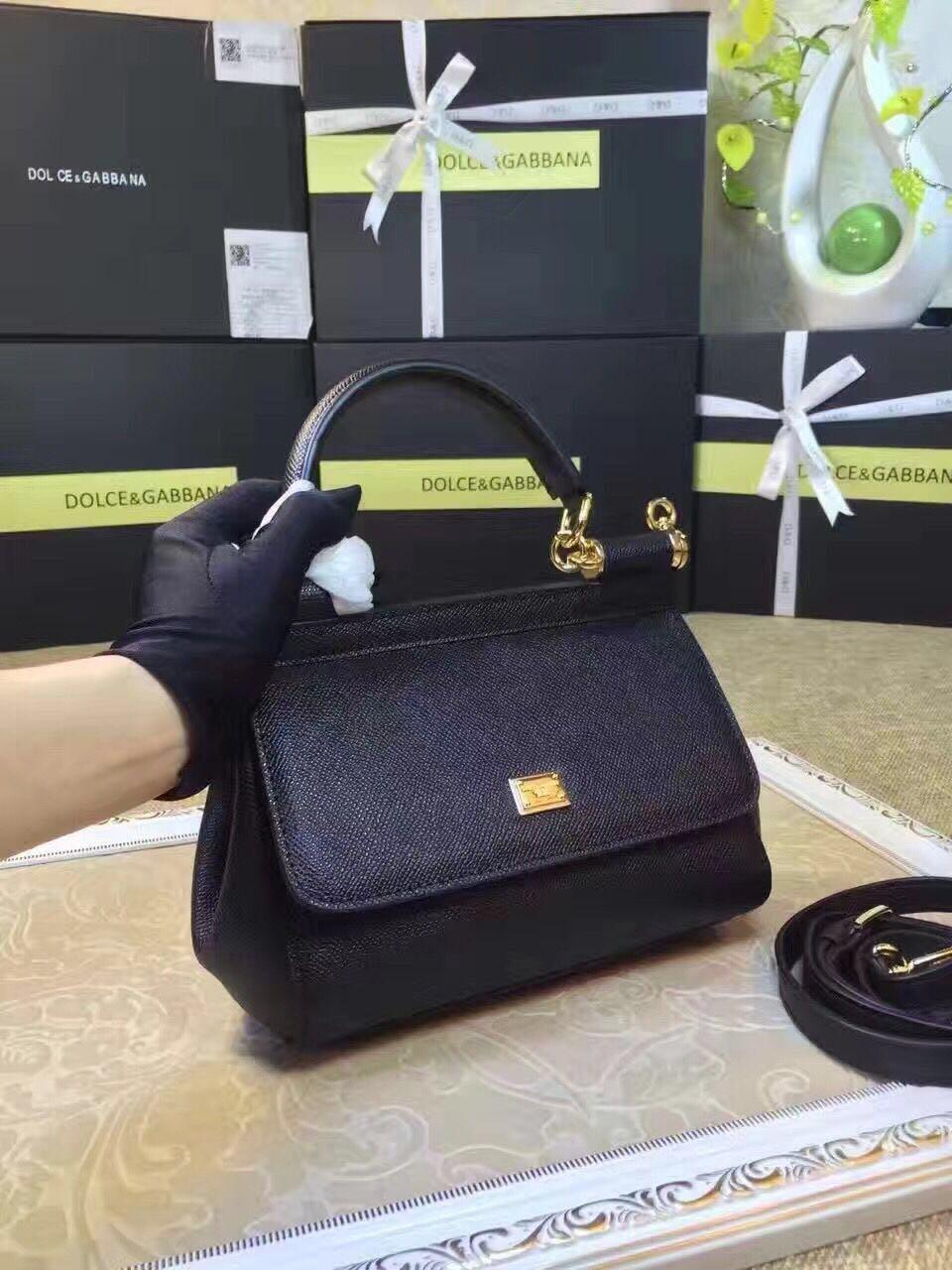 Dolce & Gabbana SICILY Calfskin Tote Bag BB4137 Black