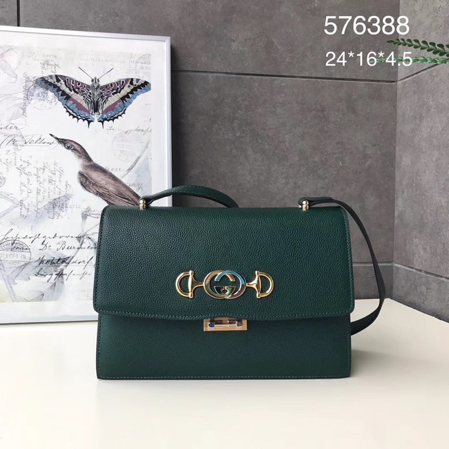 Gucci GG Leather Shoulder Bag A576388 green