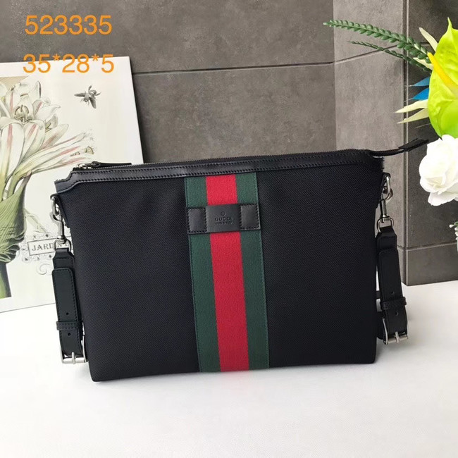 Gucci GG Supreme canvas shoulder bag 523335 black