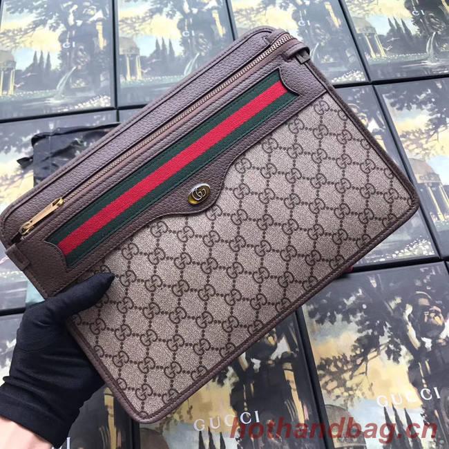 Gucci GG Supreme canvas pouch 597619 brown