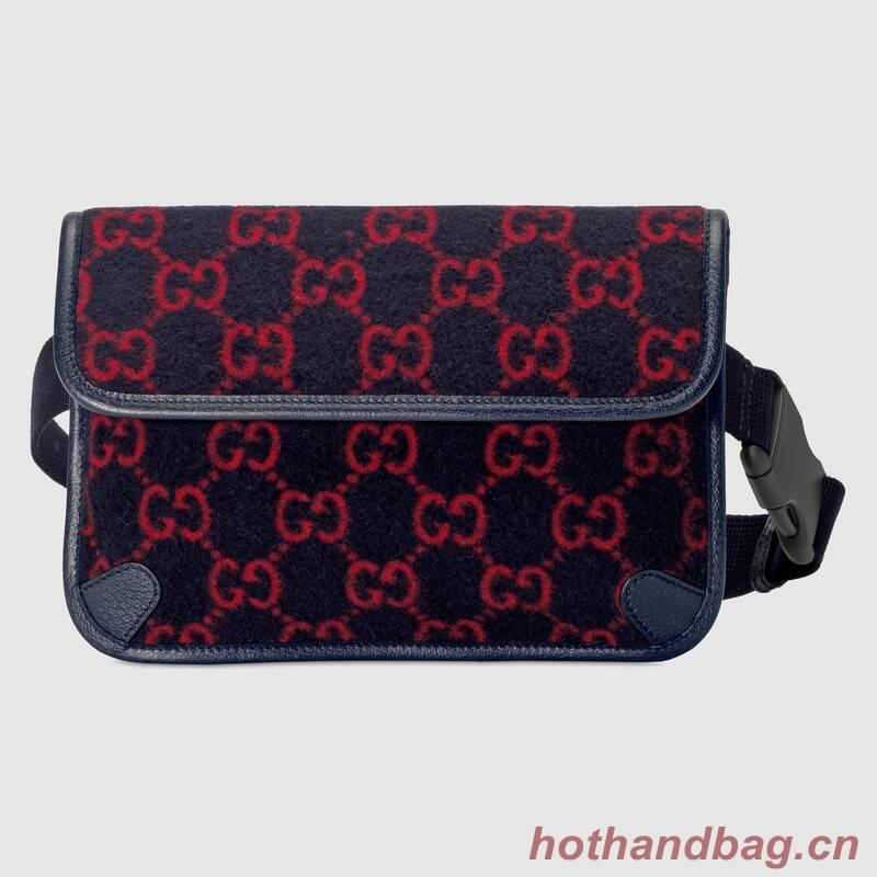 Gucci GG wool waist bag 598181 dark blue