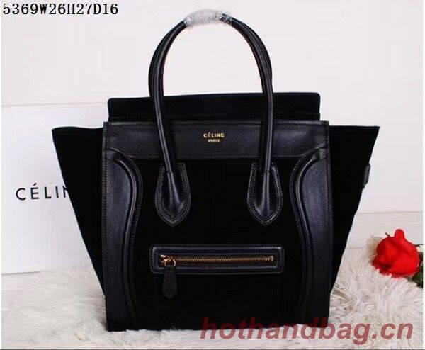 Celine Luggage Micro Tote Bag Original Suede Leather CL5369 Black