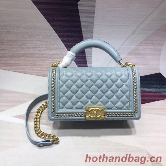 Chanel Leboy Original Calfskin leather Shoulder Bag H67086 light blue & gold -Tone Metal