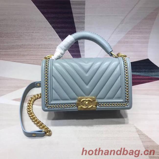 Chanel Leboy Original leather Shoulder Bag V67086 light blue & gold -Tone Metal