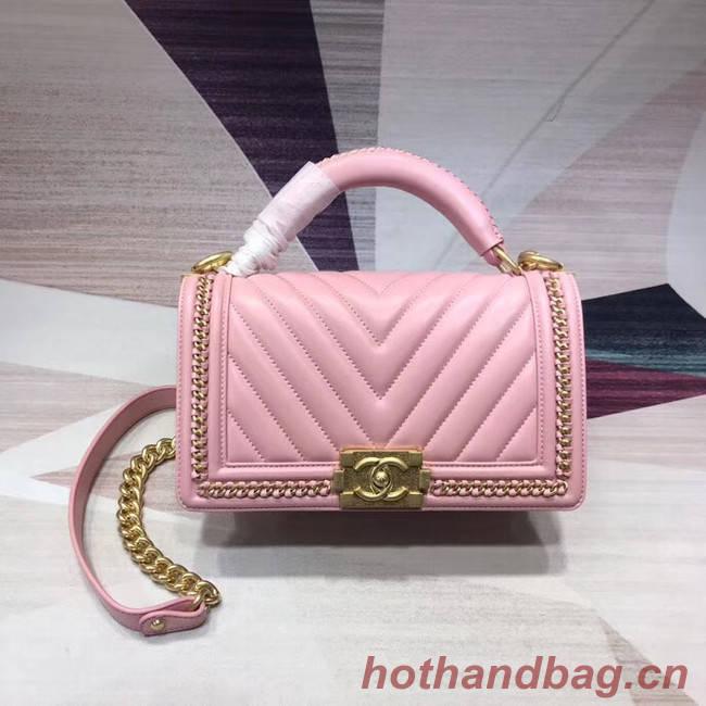 Chanel Leboy Original leather Shoulder Bag V67086 pink & gold -Tone Metal