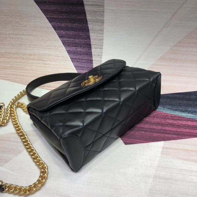 Chanel flap bag with top handle Lambskin & Gold-Tone Metal AS1174 black
