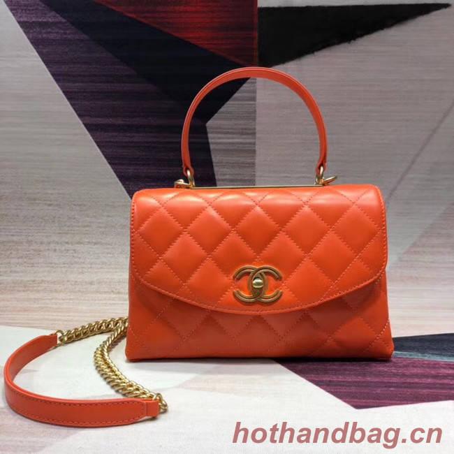 Chanel flap bag with top handle Lambskin & Gold-Tone Metal AS1174 orange