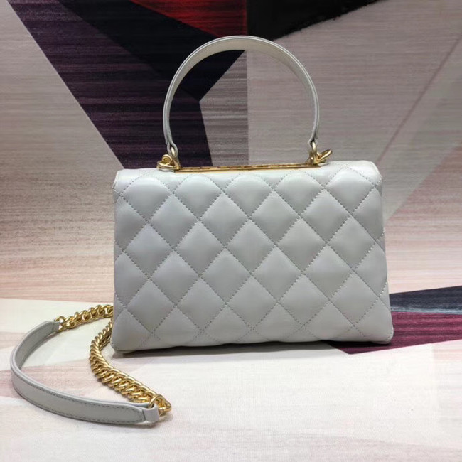 Chanel flap bag with top handle Lambskin & Gold-Tone Metal AS1174 white