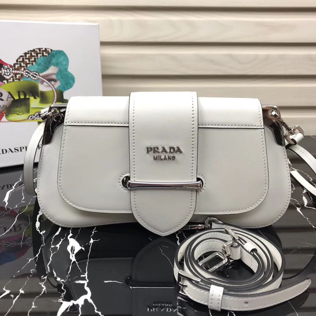 Prada Sidonie leather shoulder bag 1BD168 White