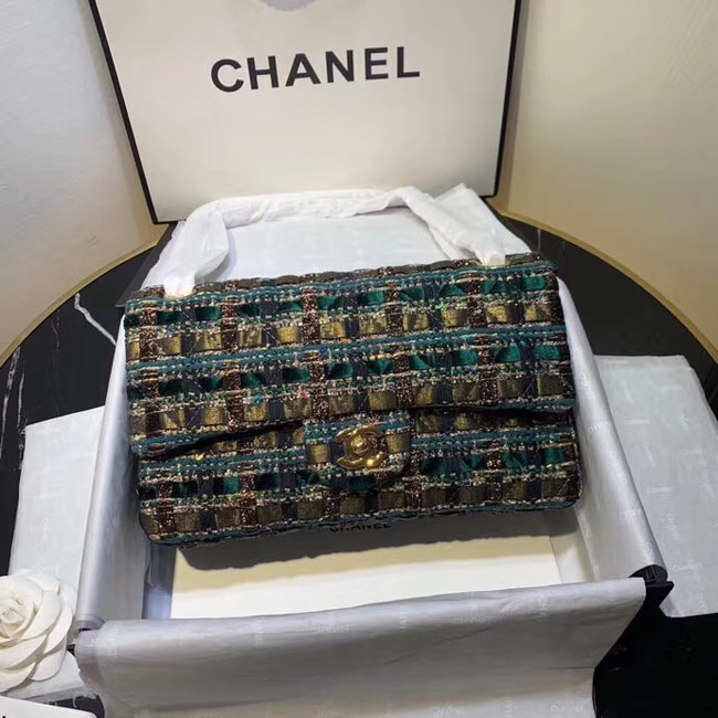 CHANEL Tweed Calfskin -Tone & Gold-Tone Metal AS1112 green