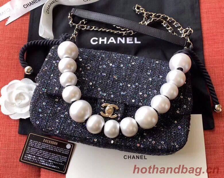 Chanel Original Pearl Shoulder Strap Bag A1112 Black