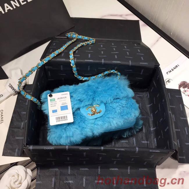Chanel flap bag Wool sheepskin &Gold-Tone Metal AS1199 skyblue