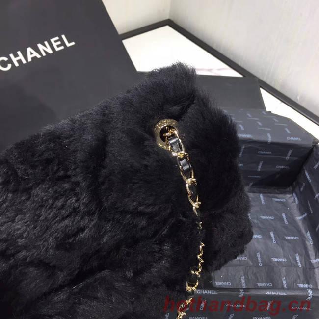 Chanel flap bag Wool sheepskin &Gold-Tone Metal AS1063 black