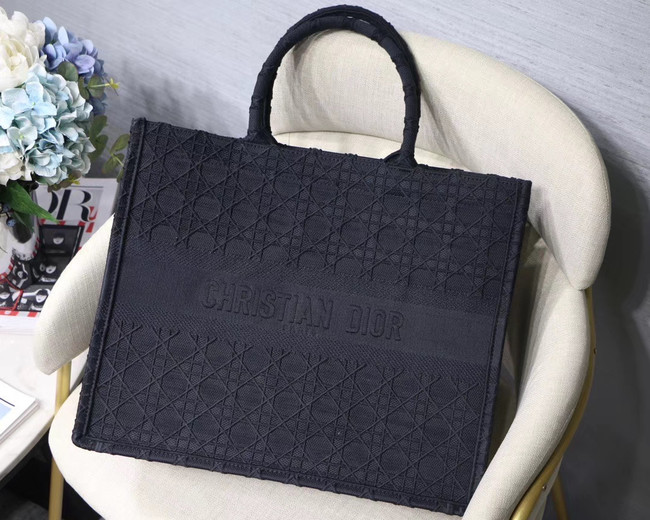 DIOR BOOK TOTE BAG IN EMBROIDERED CANVAS C1286 dark blue