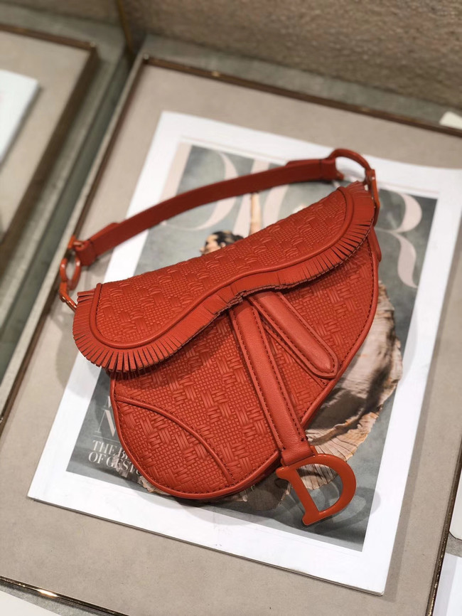 Dior SADDLE BRAIDED LEATHER STRIPS WITH FRINGE BAG M900 orange