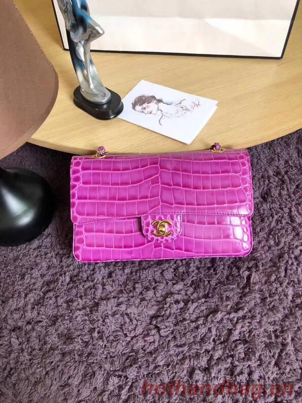 Chanel Classic Flap Bag Original Alligator & Gold-Tone Metal A01112 Lavender