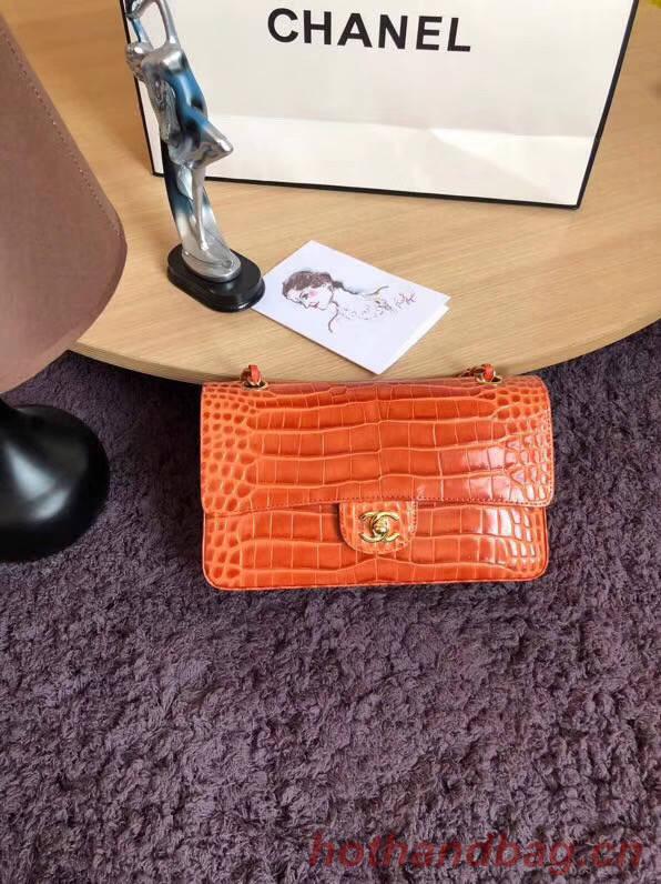 Chanel Classic Flap Bag Original Alligator & Gold-Tone Metal A01112 orange