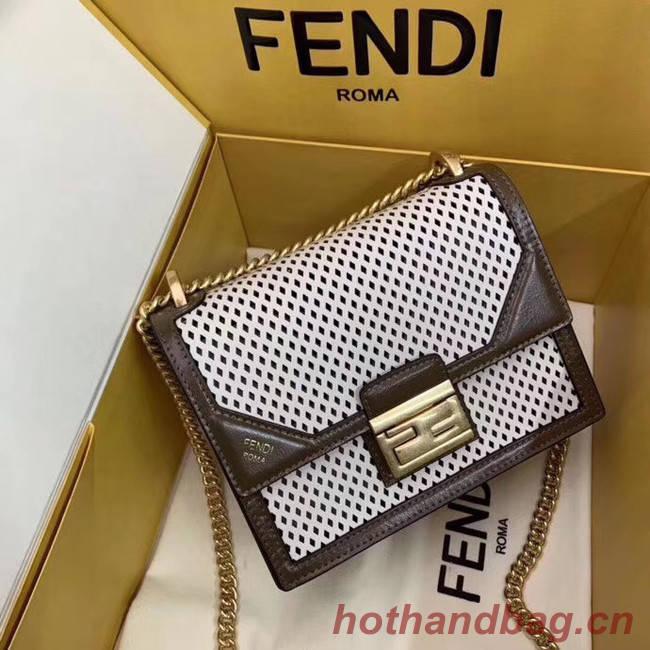 Fendi KAN U SMALL leather mini-bag 8BT312 Khaki&white
