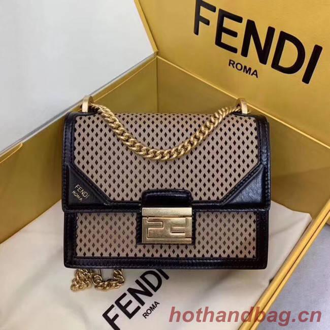 Fendi KAN U SMALL leather mini-bag 8BT312 black&apricot